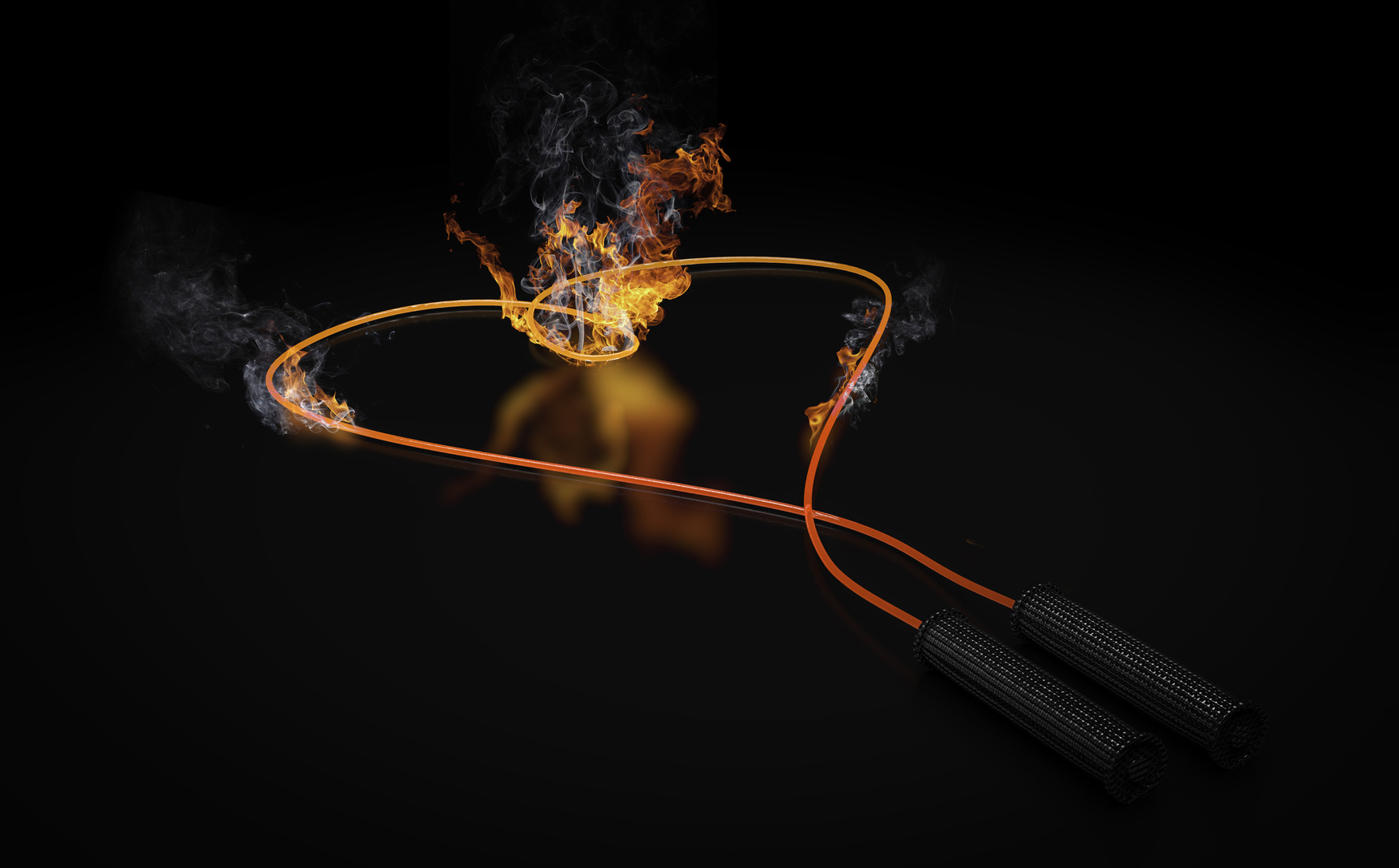 jump rope with heart shape on fire