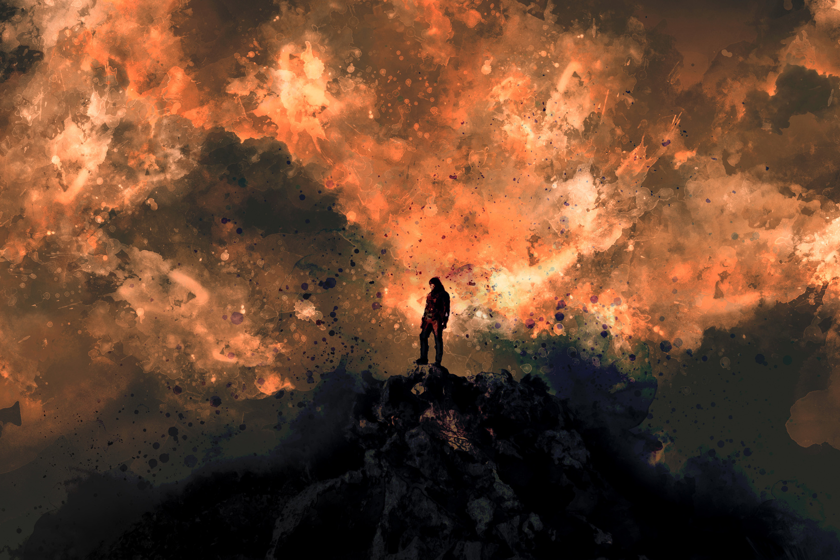 A man on the top of the mountain peak with burning sky background, digital illustration