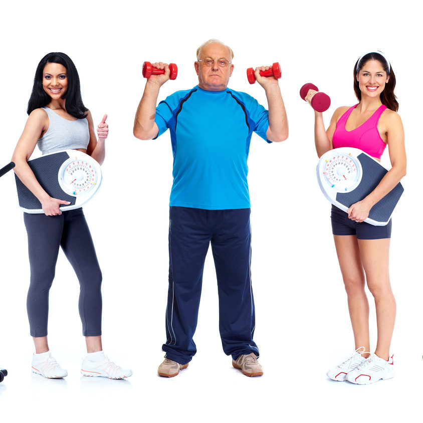 Group of healthy fitness people isolated over white background.